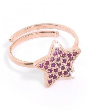 Anello in argento rosa con stella e pietre naturali viola