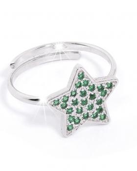Anello in argento a forma di stella con pietre verdi