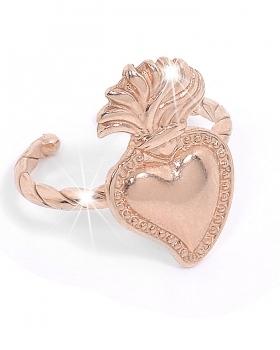 anello in argento rosa con sacro cuore
