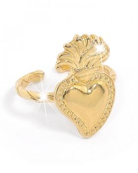 anello in argento giallo con sacro cuore