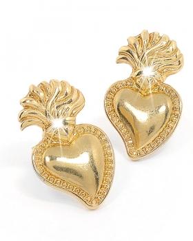 Orecchini in argento con sacro cuore e farfallina