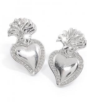 Orecchini argento con sacro cuore e farfallina