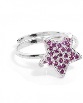 Anello in argento con stella e pietre naturali viola