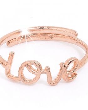 anello in argento rosa con la scritta LOVE