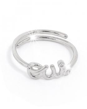 anello in argento con la scritta OUI, SI e punto luce