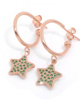 orecchini in argento rosa con pendente a stella e zirconi pietre naturali verdi