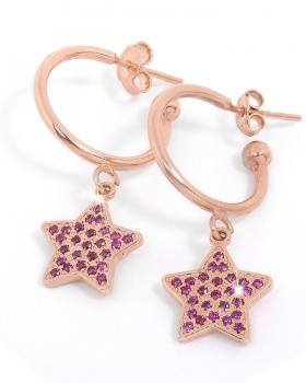 orecchini in argento rosa con pendente a stella zirconi pietre naturali viola
