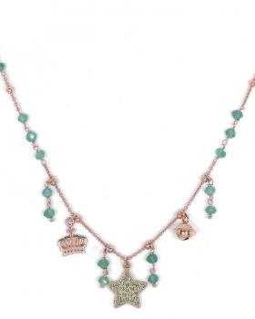 collana in argento rosa con pendenti stella con zirconi verdi, campanella e corona. pietre naturali quarzo verde
