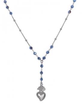 collana in argento con sacro cuore e pietre naturali blu