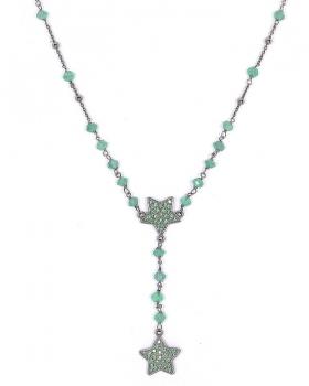 collana in argento e pietre naturali verdi e 2 stelle pendenti con quarzo