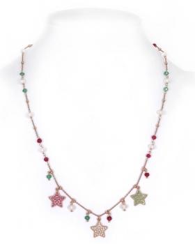 collana in argento con pietre multicolor naturali e pendenti a forma di stella con zirconi