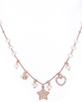 collana in argento color rosa con perle, campanella chiama angeli e stella e cuore con zirconi