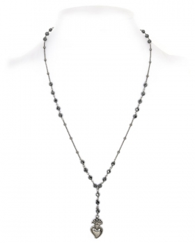 collana in argento con pietre ematite e pendente sacro cuore