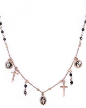 collana in argento rosa con pietre ematite e pendente madonna e croce