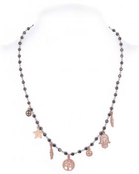 collana in argento rosa con pietre ematite e simboli della pace