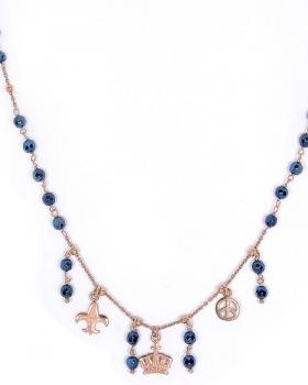 collana in argento con emtatite e pendenti corona giglio firenze e simbolo della pace