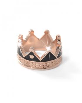 anello in argento a corona con smalto nero