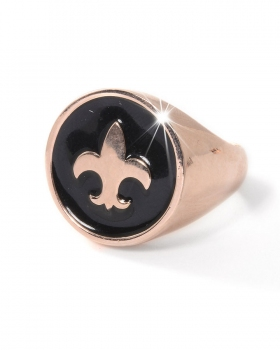 anello in bronzo rosa con giglio e smalto nero