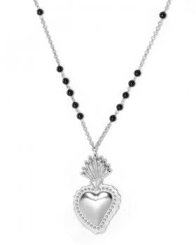 collana con sacro cuore piccolo e onice