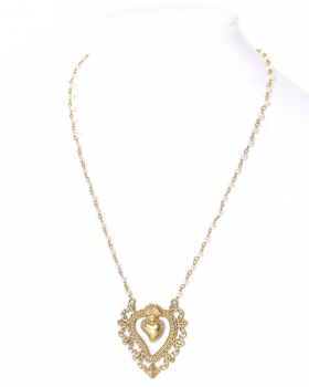 collana con pendente sacro cuore e perle di acqua dolce
