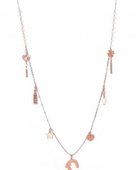 Collana in argento con pendenti porta fortuna, ferro cavallo, stelle, cuori e perle
