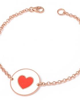 Bracciale color rosa con centrale smaltato e cuore rosso