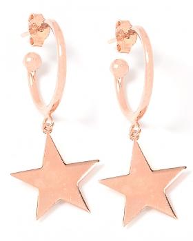 Orecchini in argento color rosa con stella