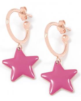 Orecchini in argento color rosa con stella smaltata viola
