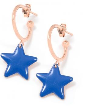 Orecchini in argento color rosa con stella smaltata blu