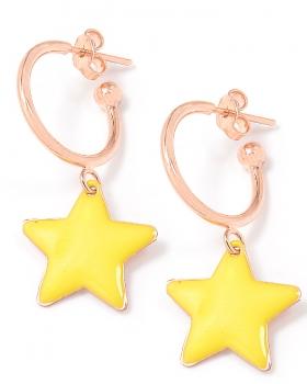 Orecchini in argento color rosa con stella smaltata gialla