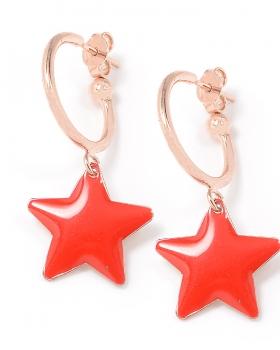 Orecchini in argento color rosa con stella smaltata rosso