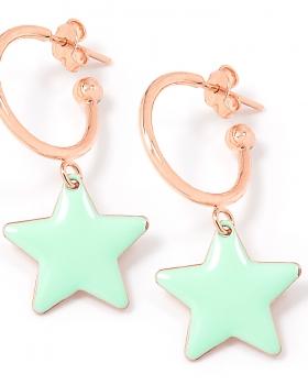 Orecchini in argento color rosa con stella smaltata acqua marina