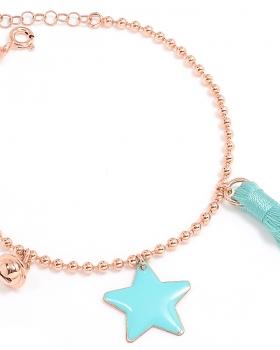 Bracciale in argento color oro rosa con campanella, nappa blu e cuore smaltato