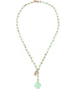 Collana in argento color rosa, pietre naturali agata verde con quadrifoglio smaltato e campanella