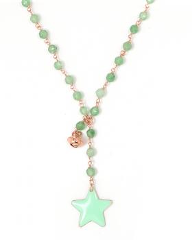 Collana in argento color rosa, pietre naturali agata verde con stella smaltata e campanella