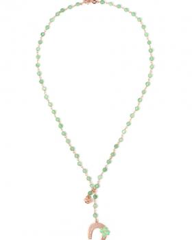 Collana in argento color rosa, pietre naturali agata verde con ferro dicavallo smaltato e campanella