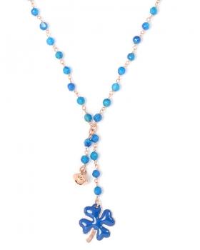 Collana in argento color rosa, pietre naturali agata blu con quadrifoglio smaltato e campanella