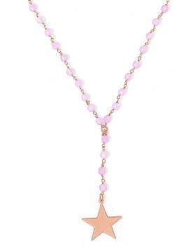 Collana in argento color oro rosa con pietre naturali agata lillà o violetta e pendente stella