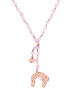 Collana in argento color rosa, pietre naturali agata rosa con ferro di cavallo e campanella