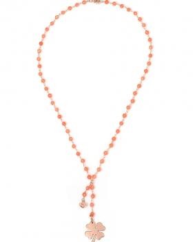 Collana in argento color rosa, pietre naturali agata arancione con quadrifoglio e campanella