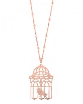Collana in argento color rosa con uccellino in gabbia