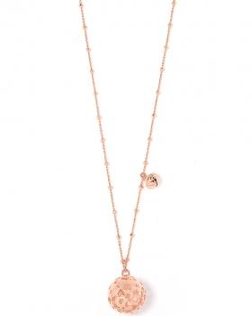 Collana in Argento chiama Angeli con sfera traforata a cuori color oro rosa