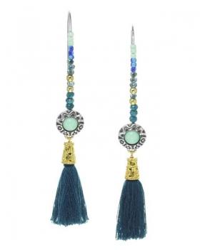 orecchino franck herval con lapislazzuli e nappe blu