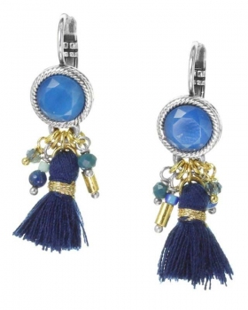 Orecchini Franck Herval con nappa blu e pietre blu