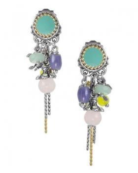 orecchino franck herval con amazzonite e quarzo rosa