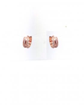 orecchino cerchio largo con fila di zirconi laterali in entrambi i lati tutto in argento 925 bagnato in oro rosa