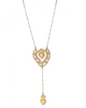 collana con doppio sacro cuore e perle di acqua dolce