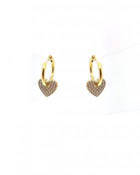 orecchino cerchio liscio con cuore pendente con zirconi in argento 925 bagnato in oro giallo