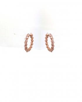 orecchino cerchio con zirconi incassati a zig zag tutto in argento 925 bagnato in oro rosa
