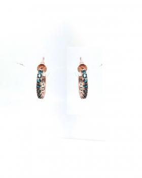 orecchino semi cerchio chiusura a lobo con zirconi incassati  color ottanio tutto in argento 925 bagnato in oro rosa